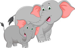 Mother and baby elephant cartoon Stock Photos