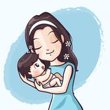 Mother and baby  Embrace with pure love royalty free illustration