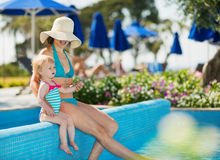 Mother with baby enjoying pool Royalty Free Stock Image