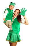 Mother with baby in fancy dresses Royalty Free Stock Photography
