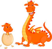 Mother and baby fire dragon hatching Stock Photography