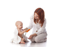Mother and baby with flower. Stock Images