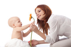 Mother and baby with flower. Mother and sweet small baby with flower on a white background royalty free stock photography