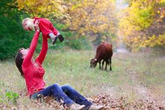 Mother and baby in forest Royalty Free Stock Photography