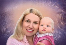 Mother with baby on frozen window collage royalty free stock photo