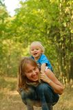 Mother and baby fun in nature Royalty Free Stock Photography