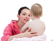 Mother with baby girl after bathing Royalty Free Stock Images