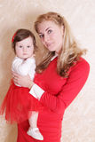 Mother and baby girl daughter in red Royalty Free Stock Image
