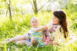 Mother and baby girl having fun outdoors Royalty Free Stock Photography