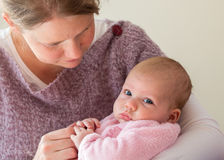 Mother and baby. Girl interacting royalty free stock image