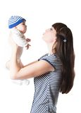 Mother and baby girl on isolated Stock Photo