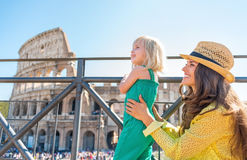 Mother and baby girl looking on copy space in rome Royalty Free Stock Photo