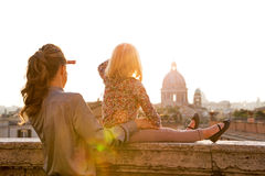 Mother and baby girl looking on rome panorama Royalty Free Stock Photos