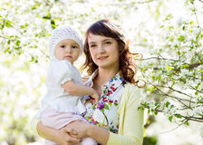 Mother and baby girl outdoors Royalty Free Stock Images