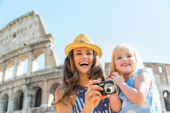 Mother and baby girl with photo camera  in rome Royalty Free Stock Photography