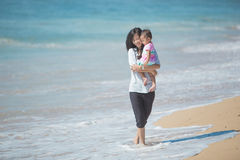 Mother and baby girl playing at seaside Royalty Free Stock Image
