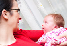 Mother and baby girl portrait Royalty Free Stock Photography
