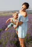 Mother with baby girl in purple lavender field Stock Photos