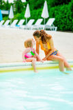 Mother and baby girl sitting at poolside Royalty Free Stock Image
