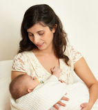 Mother with baby on hand portrait, happy maternity concept Stock Photos