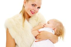 Mother with baby on hands Royalty Free Stock Photos