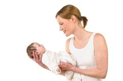 Mother with baby on her arm Stock Photography