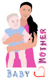 Mother and baby. Mother holding a baby  illustration Stock Image