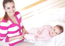 Mother and baby at home Royalty Free Stock Images