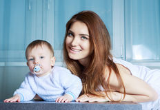 Mother and  baby at home Stock Photos