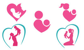 Mother and baby icons Royalty Free Stock Photography