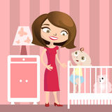 Mother with baby illustration Royalty Free Stock Photo