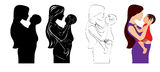 Mother and baby. This illustration is Mother and baby,  silhouette, stencil, outline and colored Royalty Free Stock Photography