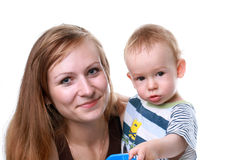Mother with baby isolated. Mother with the child and with toy car Stock Image