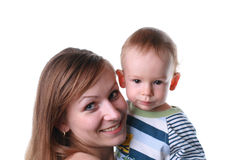 Mother with baby isolated. Mother with baby on a white background Royalty Free Stock Images