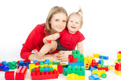 Mother Baby Kid Playing Blocks Toys, Little Child Girl royalty free stock photo