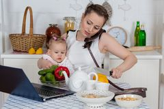 Mother with baby in kitchen. Royalty Free Stock Photography