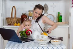Mother with baby in kitchen. Royalty Free Stock Photos