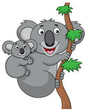 Mother and baby koala cartoon Royalty Free Stock Photos
