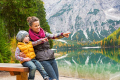 Mother and baby on lake braies in south tyrol Stock Images