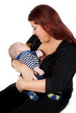 Mother and baby on white background royalty free stock images