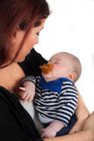 Mother and baby on white background stock image