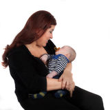 Mother and baby on white background Royalty Free Stock Photo
