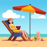 Mother with baby lying on lounger at sea beach. Mother with baby lying on lounger at ocean or sea beach. Beautiful woman relaxing reading book under sunshade Stock Photos