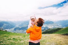 Family spend summer holiday in Dolomites, South Tyrol, Italy, Europe stock photos