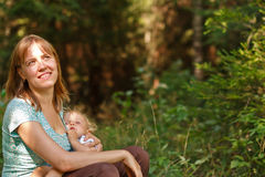 Mother and baby in nature Stock Photo