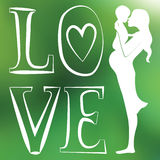 Mother with baby one color green blurred background Stock Photography