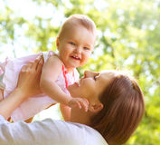 Mother And Baby outdoor Stock Photo