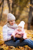 Mother and baby outdoor Royalty Free Stock Images