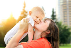 Mother and Baby outdoor Stock Image