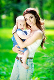 Mother and baby outdoor Royalty Free Stock Photos